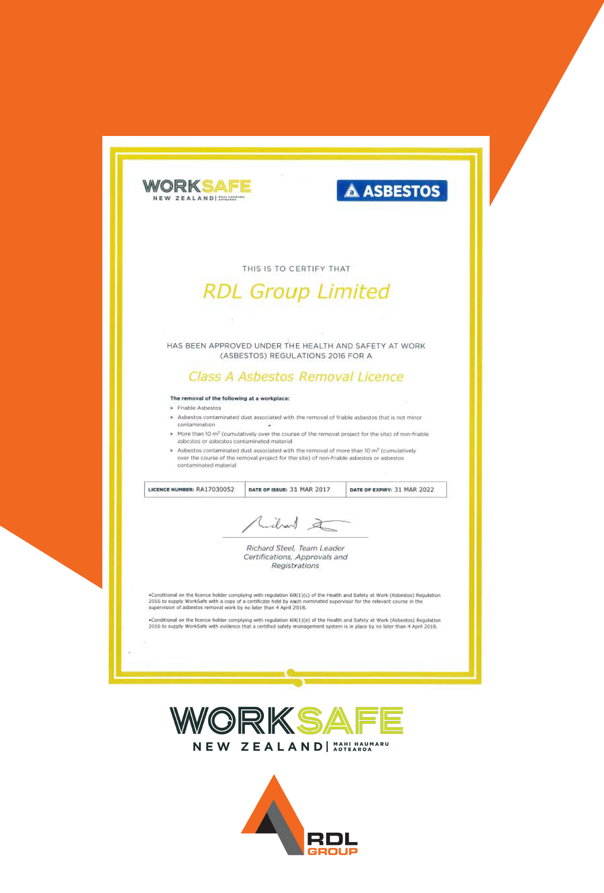 Asbestos Removal Class A Licence Awarded To Rdl Group